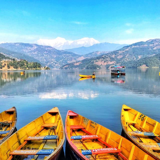 """Boating in Begnas Lake, Nepal"" stock image"
