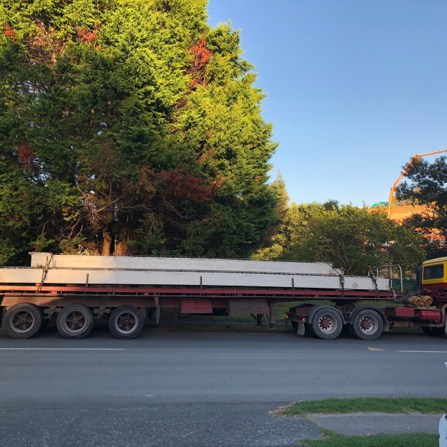 """""""Long Flatbed Truck and Trailer"""" stock image"""