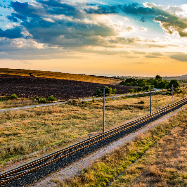 """Sunset railway landscape background cloudscape"" stock image"