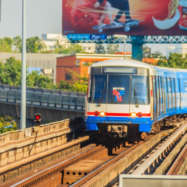 """Bangkok Mass Transit System (BTS) public skytrain at BTS sky train station,..."" stock image"