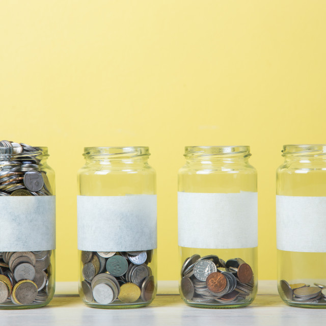 """glass jars with coins"" stock image"