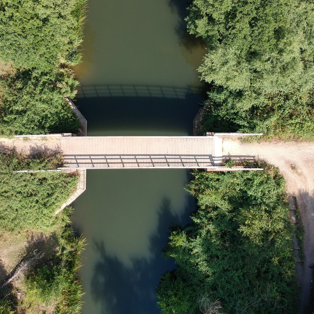 """""""River bridge from a drone"""" stock image"""