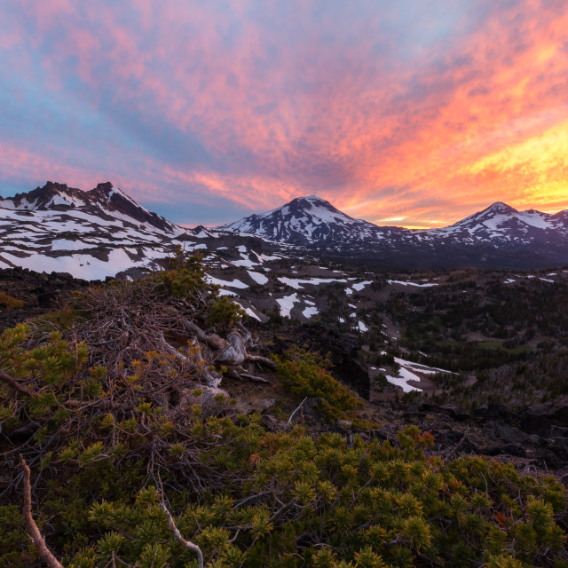 """Three Sisters Wilderness Sunset"" stock image"