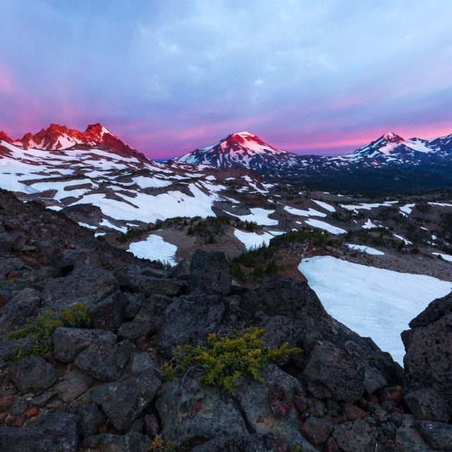 """Three Sisters Wilderness Sunrise"" stock image"