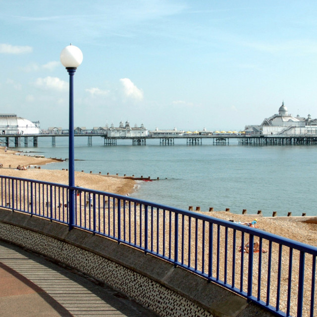 """""""Eastbourne Pier, photographed from near Eastbourne Bandstand."""" stock image"""