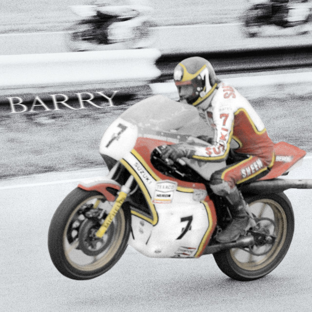 """""""Barry Sheene 2, the hand coloured version."""" stock image"""
