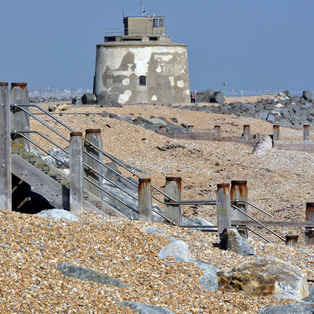 """Martello Tower near Sovereign Harbour Eastbourne"" stock image"