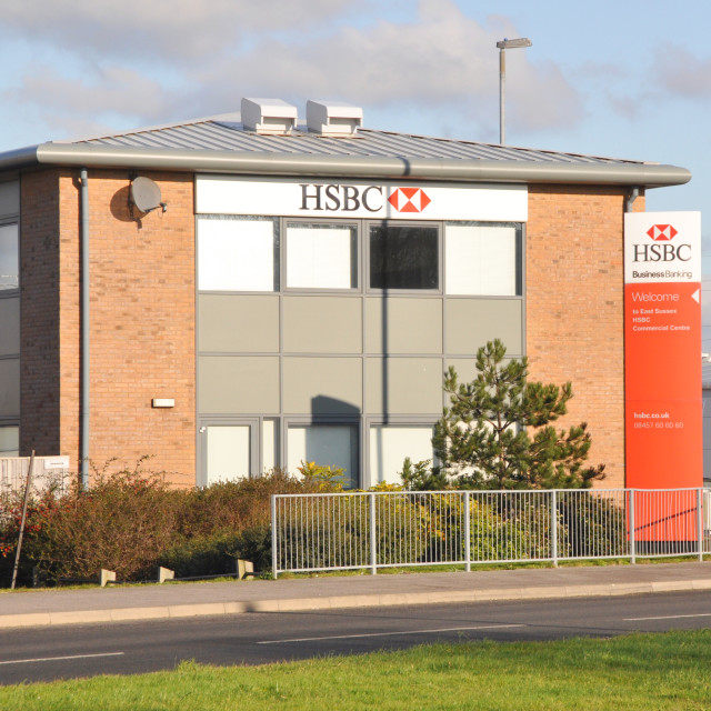"""""""HSBC Business Banking Centre, Eastbourne."""" stock image"""