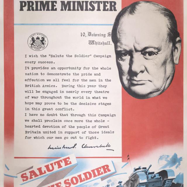 """Winston Churchill - Reprint of British wartime poster."" stock image"
