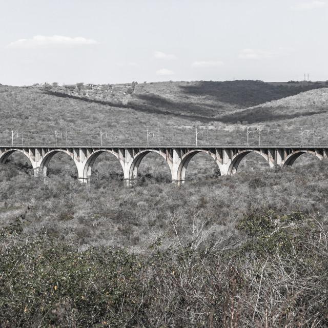 """""""Railway Arched Bridge Vintage Landscape"""" stock image"""