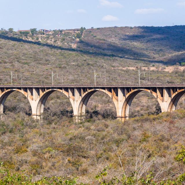 """Railway Arched Bridge Valley"" stock image"
