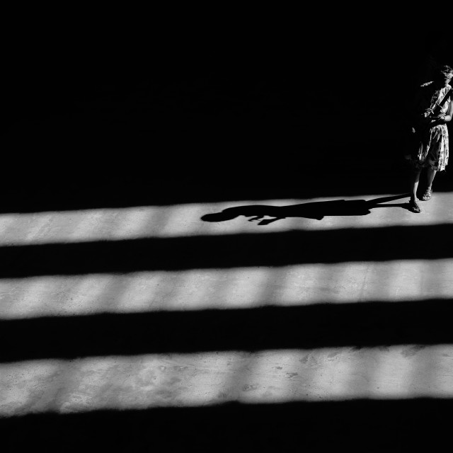 """""""Silhouette and shadow of woman"""" stock image"""