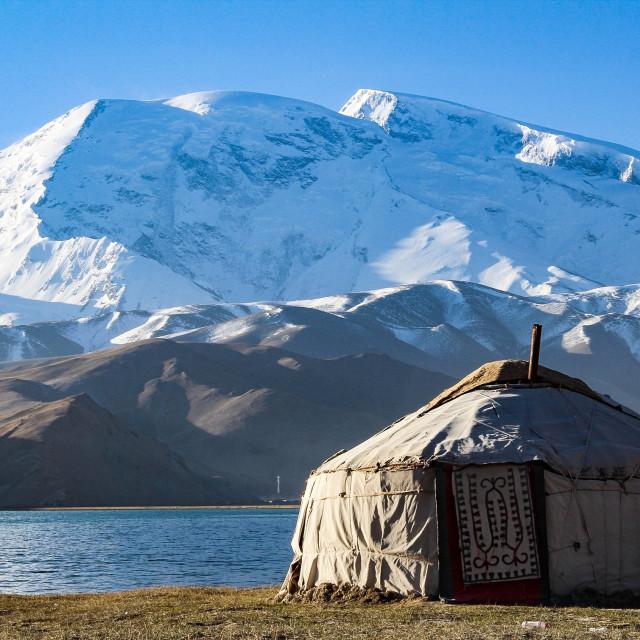 """""""Yurt at Muztagh Ata"""" stock image"""