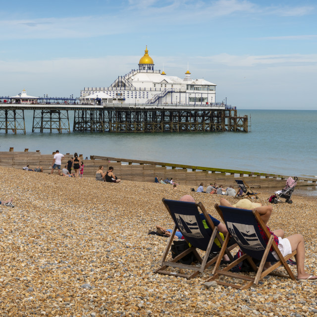"""""""Eastbourne Beach and Pier"""" stock image"""
