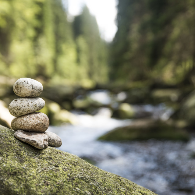 """""""couple of stones (pyramid) in Vydra river"""" stock image"""