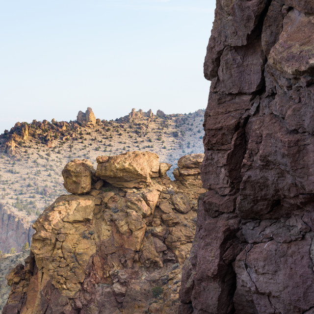"""""""Rock formations used for climbing in Smith Rock State Park, Oregon, USA"""" stock image"""