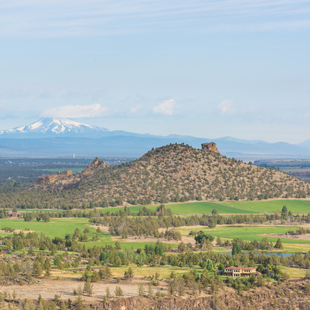 """Mount Jefferson volcano seen from Smith Rock trail, with pine trees and rocks..."" stock image"