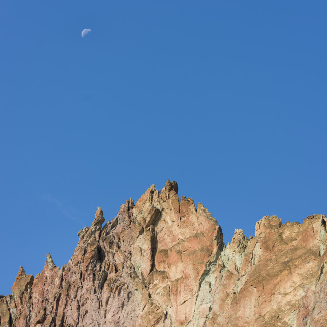 """""""rock climbing canyon in Smith Rock state park in Oregon, USA"""" stock image"""
