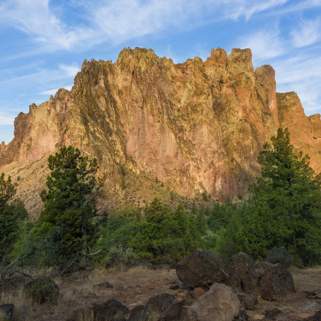 """Rock climbing canyon in Smith Rock state park in Oregon, USA"" stock image"