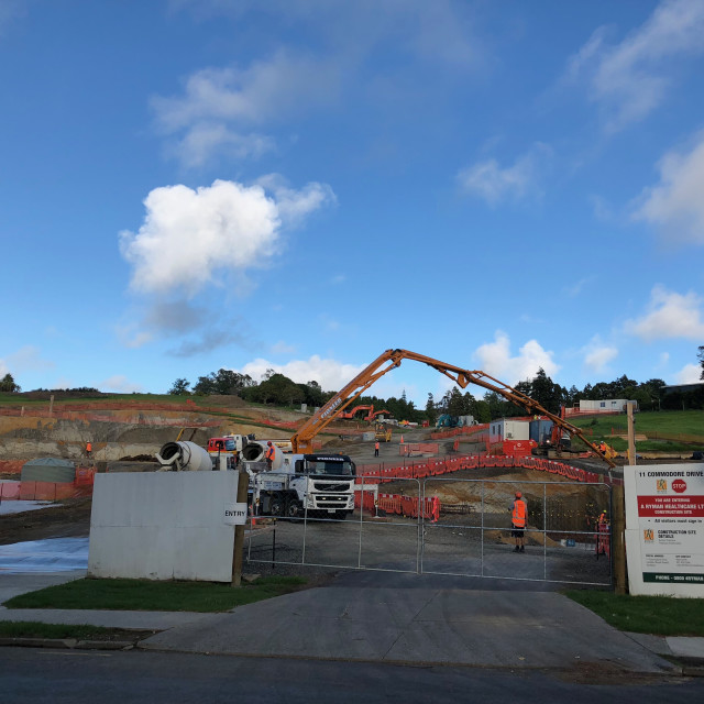 """""""Cement Truck Construction Site in Auckland"""" stock image"""