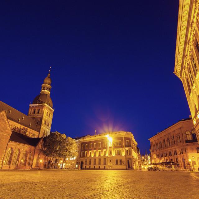 """""""Riga Cathedral at night"""" stock image"""