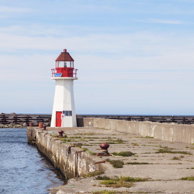 """""""Grand Bank Wharf Lighthouse"""" stock image"""