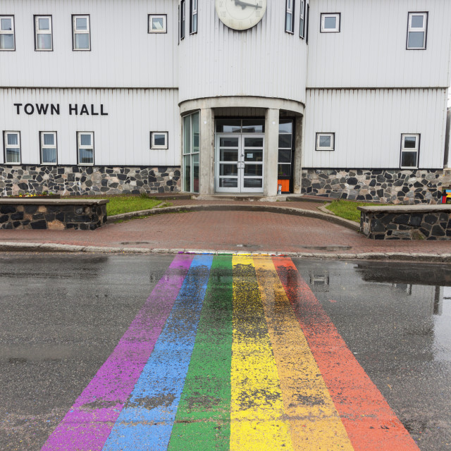 """""""Channel-Port aux Basques City Hall"""" stock image"""