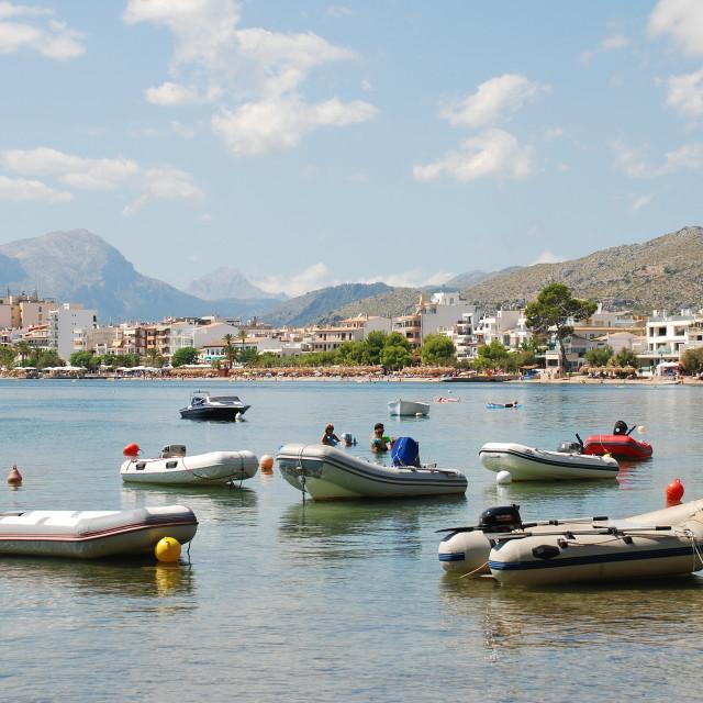 """Puerto Pollensa dinghies, Majorca"" stock image"