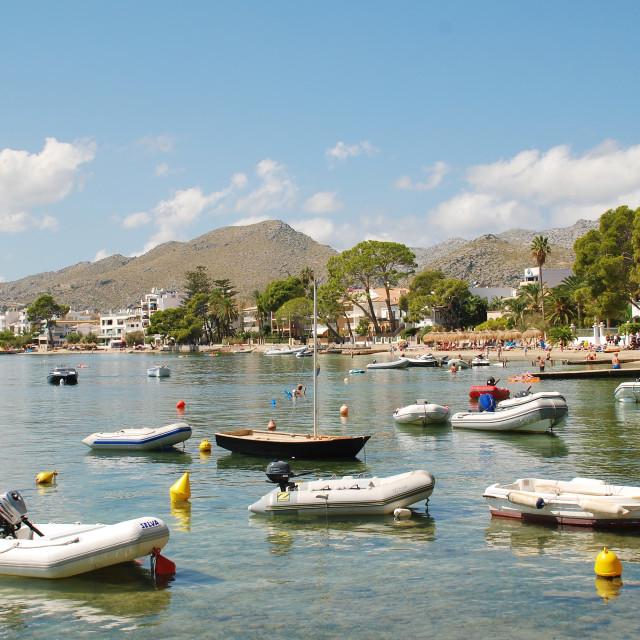 """Dinghies at Puerto Pollenca, Majorca"" stock image"