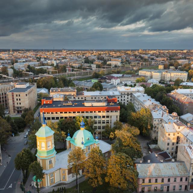 """Aerial panorama of Riga"" stock image"