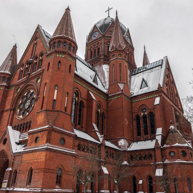 """Church in winter scenery"" stock image"
