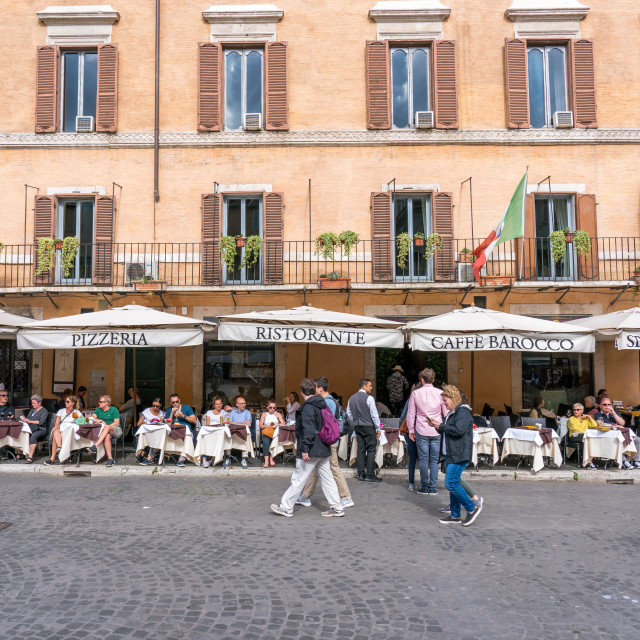 """Outdoor cafe restaurant and pizzeria in Rome"" stock image"