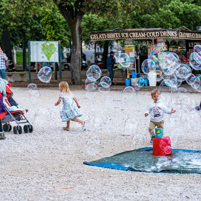 """""""Bubbles at Terrazza del Pincio in Rome"""" stock image"""