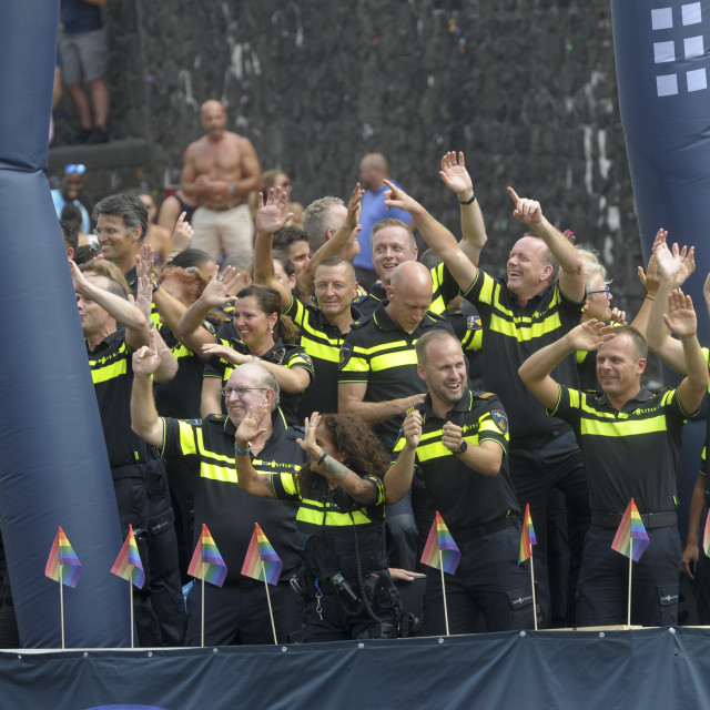 """""""Amsterdam The Netherlands Gay Pride Canal Parade"""" stock image"""
