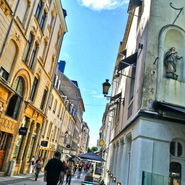 """Side street in Luxembourg City"" stock image"