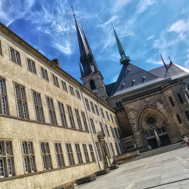"""Notre Dame Cathedral (Cathedrale Notre Dame), Luxembourg City"" stock image"