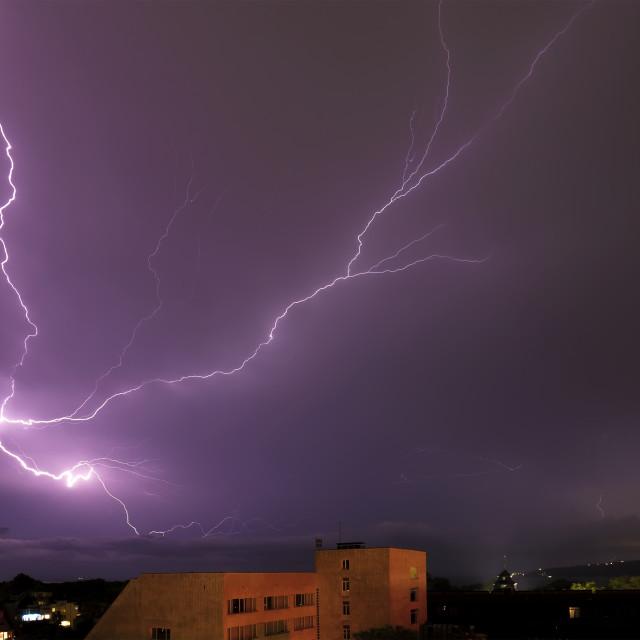 """""""Powerful lightning strikes"""" stock image"""