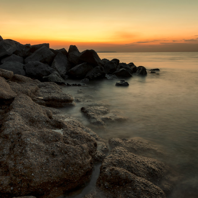 """Langney Point, Eastbourne at Sunrise"" stock image"