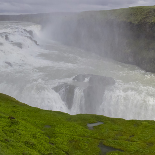 """""""A Line Of People To See Gullfoss"""" stock image"""