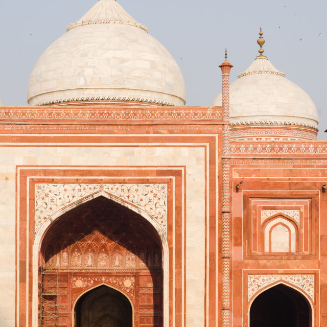 """""""Facade of the western mosque main prayer hall in the Taj Mahal monument,..."""" stock image"""