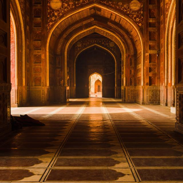 """Decorated corridors and hallways in the Taj Mahal main mosque, Agra, India."" stock image"