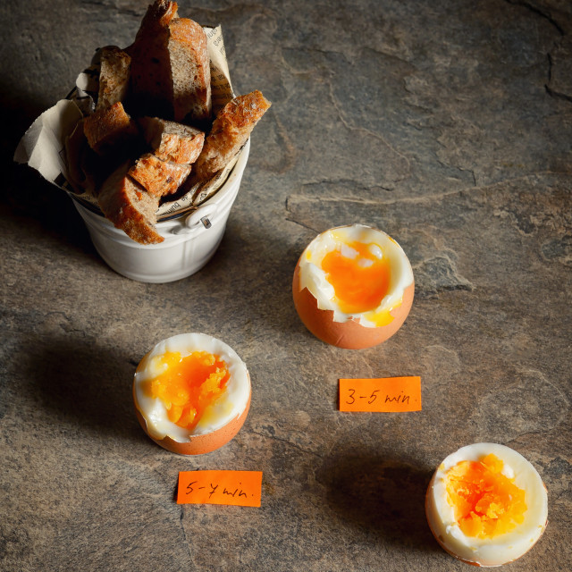 """Boiled eggs by the minute"" stock image"