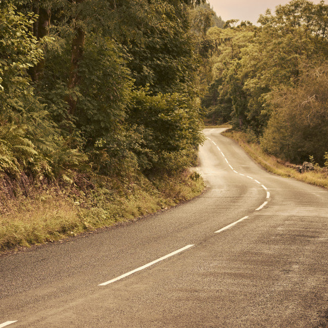 """""""A two lane road in the English countryside. Lake District National Park, Cumbria"""" stock image"""
