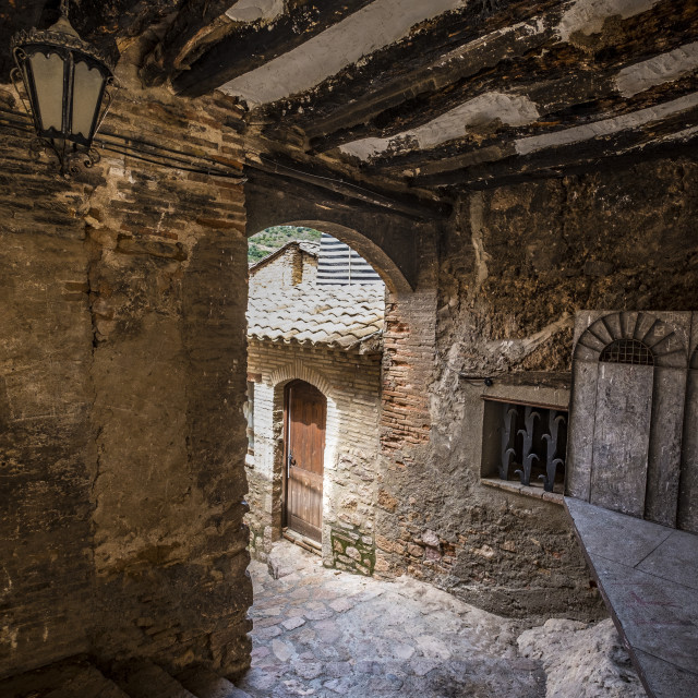 """""""Typical architecture of the medieval village of Alquezar in the province of Huesca in Aragon Spain Europe"""" stock image"""