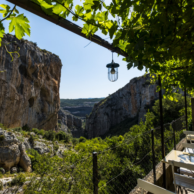 """""""View of the Sierra de Guara from a terrace in the village of Alquezar in the province of Huesca in Aragon Spain Europe"""" stock image"""