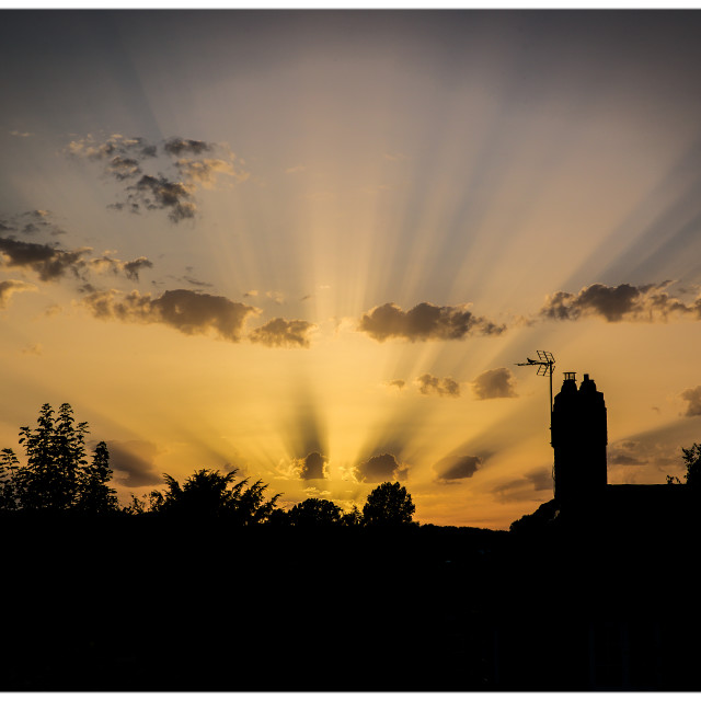 """Crepuscular Rays over East Sussex"" stock image"