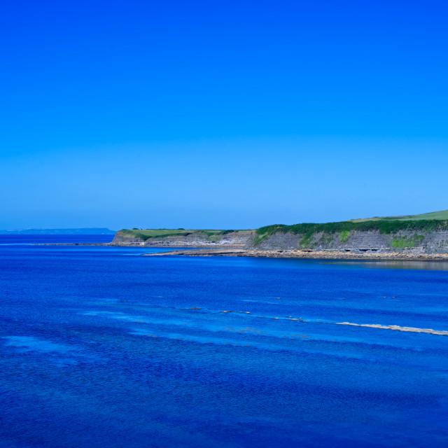 """Beautiful day at Kimmeridge Bay"" stock image"