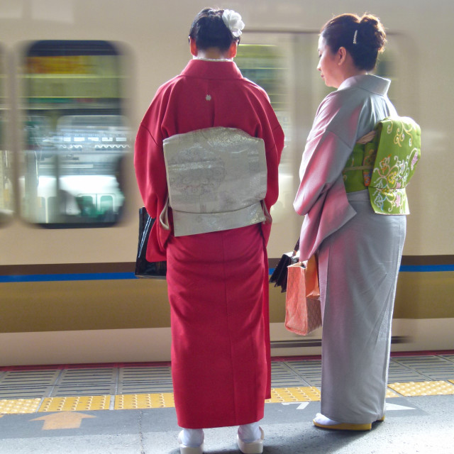 """Kimonos at Kyoto train station"" stock image"