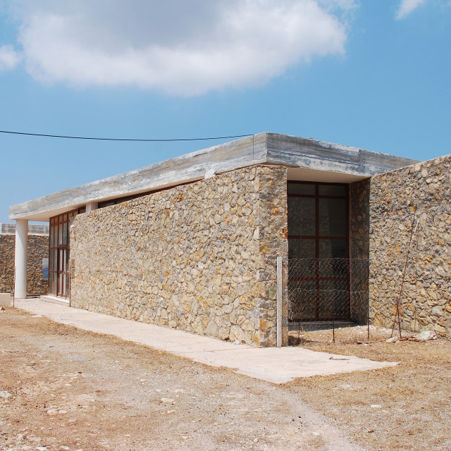 """Charkadio cave visitor centre, Tilos"" stock image"