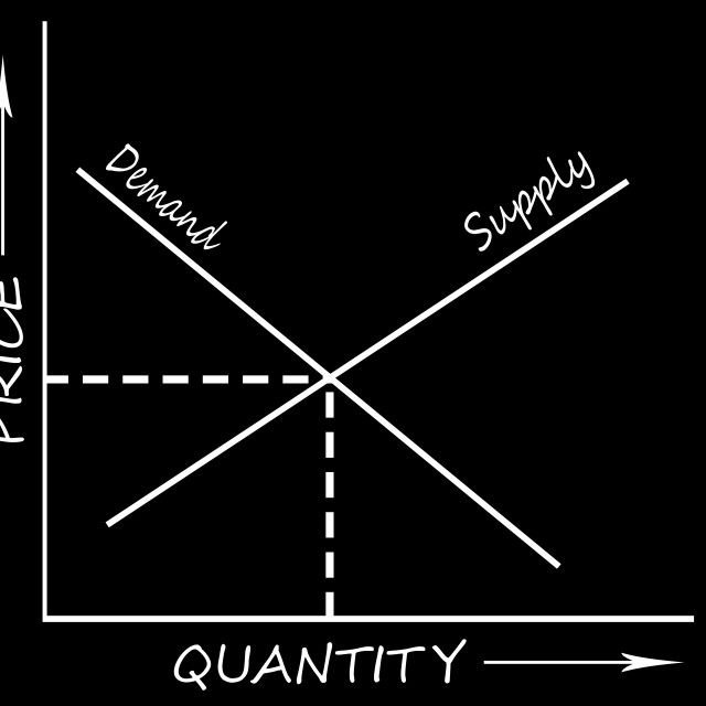 """""""Digital Illustration - Supply and demand graph white on black"""" stock image"""